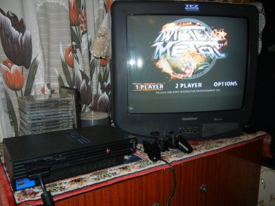 PS2 + Twidted Metal 2 + TV